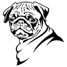 2 Aufkleber Mops Hund Sticker Decal jdm tuning 13 Cm black