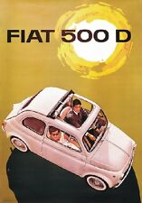 "TARGA VINTAGE ""FIAT 500 D"" Pubblicità, Car Advertising, Poster, Plate, Art Retro"