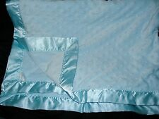 Bright Future Blue Baby Blanket Minky Dot Raised Bumps Satin Trim Bumpy