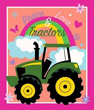 John Deere Peace, Love & Tractors Panel 100% cotton fabric panel PRE-ORDER