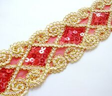 "Z363 2"" Red Shiny Sequin Beaded Trim By Yard"