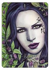 ACEO LE PRINTS Deadly Nightshade Belladonna Poison Flowers Portrait Gothic black