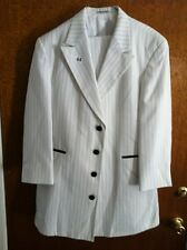 Zoot Suit - white stripes coat / jacket - size 43R , pants 36- 38S  Un-hemmed