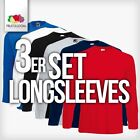 3x FRUIT OF THE LOOM Langarm Long Sleeve Longsleeves T-Shirt S-XXL