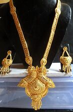 12'' Long 22K Gold Plated Fashion Necklace Earrings South Indian Wedding Set