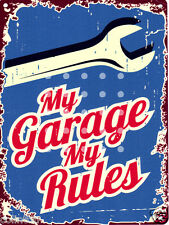 MY GARAGE MY RULES SIGN RETRO VINTAGE STYLE 8x10in 20x25cm pub bar shop art