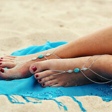 Boho Silver Turquoise Anklet Chain Ankle Bracelet Barefoot Sandal Foot Jewelry