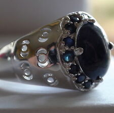 Natural Blue Sapphire  Ring 925 S,Silver,Vintage Estate Jewelry,Size 10.75