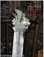 NEW 2 WHITE Calla Lily Pew Bows, Church Pew Bows Wedding Decorations