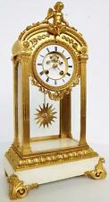 Rare Large Antique 8 Day French Bronze Ormolu 4 Glass Regulator Mantel Clock