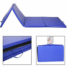 "New 4'x10'x2"" Folding Gymnastics Gym Exercise Mats Blue Stretching Yoga Mat Blue"