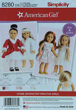 "Simplicity 8280 Sewing PATTERN for 18"" AMERICAN GIRL DOLL Clothes 4 OUTFITS"