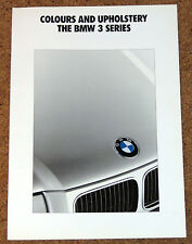 1991 BMW 3 SERIES COLOURS & UPHOLSTERY Brochure (E36) - 325i 320i 318i 316i