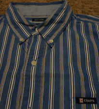 Mens CHAPS by Ralph Lauren Polo Striped EASY CARE Oxford Shirt XL Blue & White