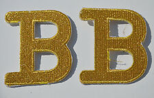 2pcs LETTER B GOLD GILT  (FAULTY) Embroidered Iron Sew On  Patch APPLIQUE