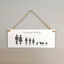 111 HAND MADE Personalised Family Name Plaque 19X8 / FAMILY HANGING SIGN