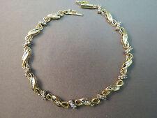"""10k Yellow Gold Diamond Tennis Bracelet Heng Ngai Sign 7.5"""" Baguette 5.22g NICE"""