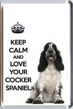 Keep CALM and LOVE YOUR Cocker Spaniel BLU ROAN Spaniel dog immagine Frigo Calamita