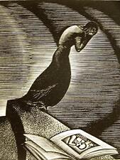 Lynd Ward 1930 WOMAN CRYING at NIGHT UNDER STARS OPEN BOOK Art Deco Print Matted