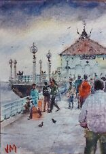Aceo Fine Art Card Original Watercolor Painting / Pier. Manhattan Beach