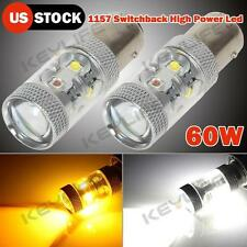 2X 1157 7528 Cree 60W Led Amber/White Switchback Turn Signal Light Projector