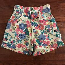 Vintage Express French Country Floral Print High Waist Denim Cuff Jean Shorts 9