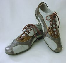 Donald Pliner Sport Ciros taupe gold metallic leather lace up comfort shoe 8.5M