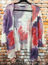 NIC+ZOE Womens XL Purple Coral Floral Print Silhouette Linen Open Front Cardigan