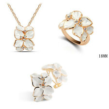 18K Gold Plated Swarovski Element Crystal White Necklace Earrings And Ring Set