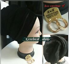 BLACK VELVET HEAD TURBAN CAP PADED WRAP BANDANA HAT HAIR LOSS CHEMO & EARRINGS