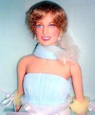 "Diana Princess of Elegance 16"" Vinyl Doll Franklin Mint Blue Chiffon Gown COA"