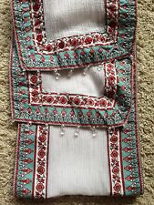 NEW LOOK Beads Sequins RED CREAM Print Crepe SCARF SHAWL WRAP Neck Stole