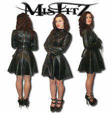 MISFITZ BLACK LEATHER LOOK STRAIT JACKET PADLOCK SKATER DRESS ALL SIZES / CUSTOM