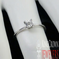 LADIES WOMEN'S SOLITAIRE WHITE GOLD FINISH GENUINE REAL ENGAGEMENT PROMISE RING