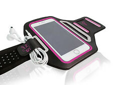 "Universal Smartphone 5.5"" Hot Pink Lycra Armband Sports Reflective Headphone Tie"