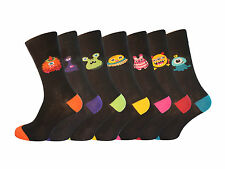 Men's 7 Pair Novelty Monster Socks Funny Character Jokes UK 6-11 Free Delivery