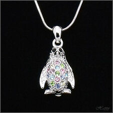 "18""+2"" Penguin Pendant Necklace Charm Chain Costume Jewelr Crystal Multicolor 3D"