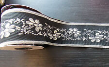 1m 65mm black silver jacquard embroidered ribbon  applique motif trimming decor