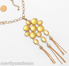 Chico's Signed Necklace Long Gold Tone Chain Yellow Cabochon Flower Pendant NWOT