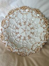 ANTIQUE MEISSEN GOLD GILT DISH BOWL Late 19th C Relief Textured CENTERPIECE