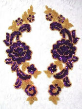0280 ~ PURPLE MIRROR PAIR SEQUIN BEADED APPLIQUES 9.5""