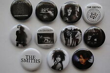 Goth Rock Buttons Pins 1.25 Inch The Cure Joy Div Siouxsie Smiths Lot of 11(LB7)