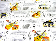 Piano, Violin & Guitar Wrapping Paper with 3 Sheets in a Pack - Music Paper