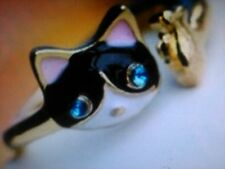 Cute Cat with Fish Gold Adjustable Wrap Ring