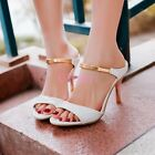 Womens Sexy High Heels Sandal Mule Slides Open Toe Strap Stiletto Chic Shoes HOT
