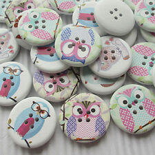30pcs Cute Owl Decoration Wood Buttons 30mm Sewing Mix Lots