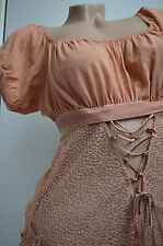 New La Perla Marchesa 2 Piece Bodysuit Silk Nude Peach Lace Ruffles Teddy Top