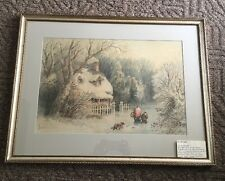 Granville Perkins Original 19th c w/c Signed Framed Winter Snow Mother Child Dog