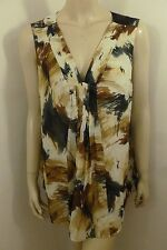 NEW Coldwater Creek Multi-color V-neck Sleeveless Top Blouse Woman Sz XL 18 NWT