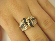 !HIGH END 14K YELLOW GOLD 2 CT BAGUETTE SAPPHIRES AND DIAMONDS WIDE BAND-RING